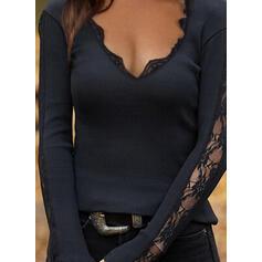 Sólido Encaje Cuello en V Manga Larga Elegante Blusas