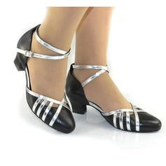 Women's Ballroom Heels Pumps Real Leather With Ankle Strap Modern
