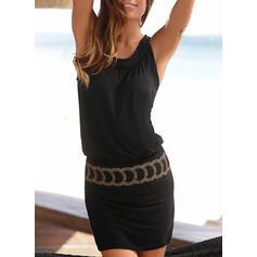 Print Mouwloos Koker Boven de knie Zwart jurkje/Vakantie Jurken