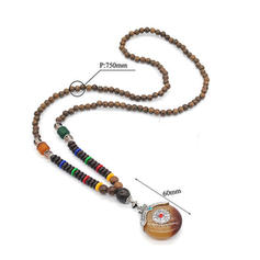 Fashionable Alloy Wooden Beads With Gem Women's Fashion Necklace