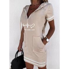 印刷/ハート/文字 半袖 ボディコンドレス 膝上 カジュアル スウェットシャツ ドレス