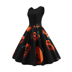 Print Sleeveless A-line Knee Length Vintage/Party Dresses