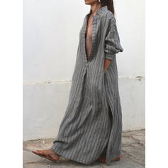 Striped Long Sleeves Shift Maxi Casual/Boho Dresses