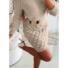 Solid Kabel-strik Rund hals Casual Lang Stram Sweaterkjole