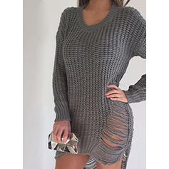 Solid Ribbed Chunky knit Round Neck Sweaters