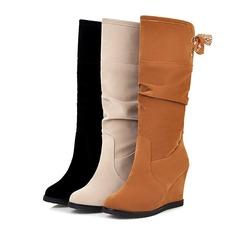 Mulheres Camurça Plataforma Botas na panturrilha sapatos