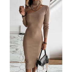 Einfarbig Lange Ärmel Figurbetont Knielang Freizeit Pullover Kleider