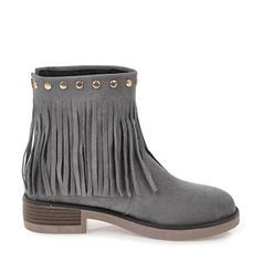 Femmes Suède Talon bottier Escarpins Bottes Bottines avec Rivet Zip Tassel chaussures