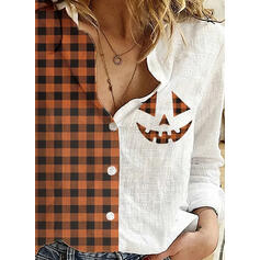 Stampa Tartan Risvolto Maniche lunghe Bottone Casuale Halloween Shirt and Blouses