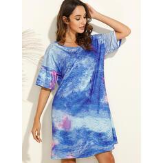 Tie Dye 1/2 Sleeves Shift Knee Length Casual Dresses