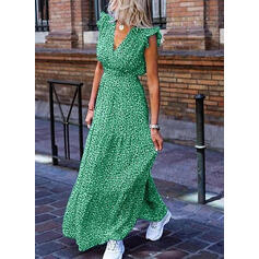 Print Cap Sleeve A-line Skater Casual/Vacation Maxi Dresses