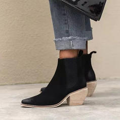 Women's Leatherette Chunky Heel Ankle Boots With Others shoes