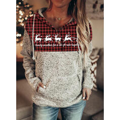 Animal Print Grid Long Sleeves Christmas Sweatshirt