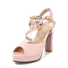 Femmes Similicuir Talon bottier Escarpins Plateforme avec Perle d'imitation chaussures