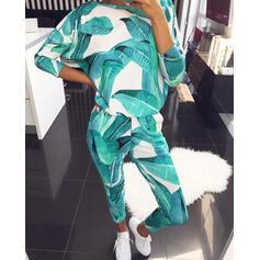 Cuello Redondo Manga Larga Impresión Casual Conjuntos de top y pantalones