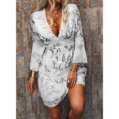 Lace/Print/Floral 3/4 Sleeves Shift Above Knee Casual/Elegant Tunic Dresses