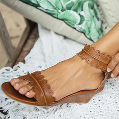 Women's PU Low Heel Sandals Wedges With Buckle shoes