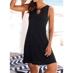 Solid Color Hollow Out Keyhole High Neck Sexy Casual Cover-ups Swimsuits