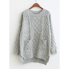 Solid Cable-knit Pocket Round Neck Sweaters