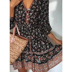 Print/Floral 3/4 Sleeves A-line Above Knee Casual/Boho/Vacation Skater Dresses