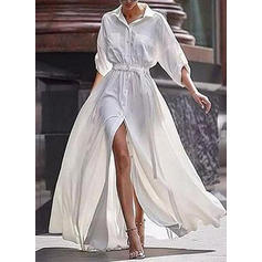 Solid 3/4 Sleeves A-line Maxi Casual Dresses