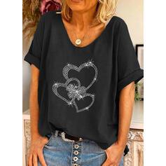 Cœur Paillettes Col Rond Manches Courtes T-shirts