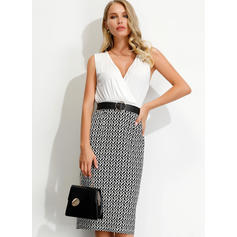 Print Sleeveless Sheath Knee Length Party Dresses
