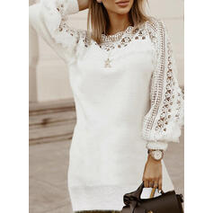 Lace/Solid Long Sleeves Sheath Above Knee Elegant Sweater Dresses