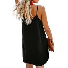 Solide Mouwloos Shift Boven de knie Zwart jurkje/Casual Jurken