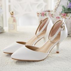 De mujer Cuero Tacón stilettos Sandalias Salón Cerrados con Crystal Hebilla zapatos