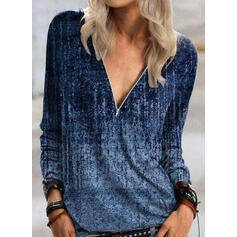 Tie Dye Scollatura a V Maniche lunghe Casuale Camicie