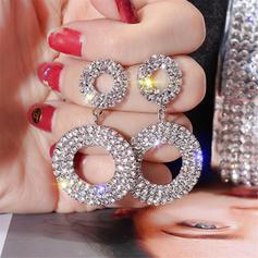 Luminoso Aleación Diamantes de imitación De mujer Pendientes