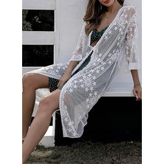 Solid Color V-neck Elegant Attractive Cover-ups Swimsuits