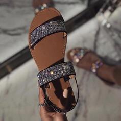 Femmes Similicuir Talon plat Sandales À bout ouvert avec Pailletes scintillantes chaussures