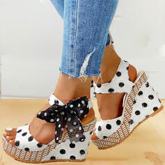 Women's PU Wedge Heel Sandals Wedges Peep Toe Heels With Bowknot shoes