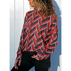 Print Stand collar Long Sleeves Casual Knit Blouses