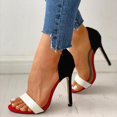 Vrouwen PU Stiletto Heel Pumps Peep Toe Slingbacks met Las kleur schoenen