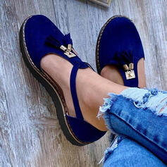 Women's Suede Flat Heel Flats Closed Toe Round Toe With Buckle shoes