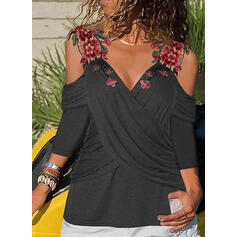 Solid Embroidery V-Neck Cold Shoulder 3/4 Sleeves Casual Blouses