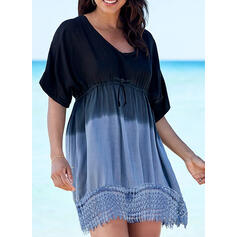 Lace/Gradient 1/2 Sleeves A-line Above Knee Casual/Vacation Skater Dresses