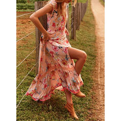 Print/Floral Sleeveless A-line Slip Casual/Vacation Maxi Dresses