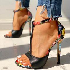 Dla kobiet Skóra ekologiczna Obcas Stiletto Sandały Czólenka Otwarty Nosek Buta Z Klamra obuwie