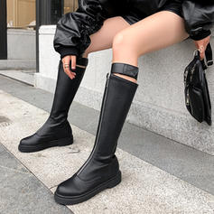 Women's Leatherette Low Heel Knee High Boots With Zipper Split Joint shoes