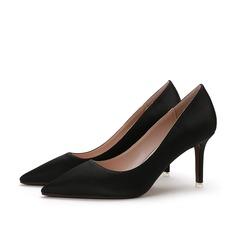 Frauen Satin Stöckel Absatz Absatzschuhe Geschlossene Zehe Schuhe
