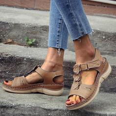 Mulheres PU Plataforma Sandálias Peep toe com Flor sapatos