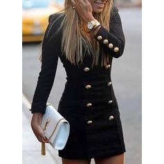 Couleur Unie Manches Longues Moulante Au-dessus Du Genou Petites Robes Noires/Décontractée/Élégante Robes