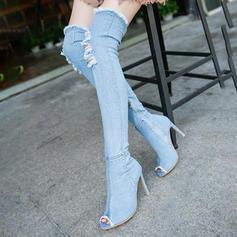 Kvinnor Jeans Stilettklack Over The Knee Boots med Zipper skor