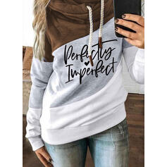 Print Color Block Figure Heart Long Sleeves Hoodie