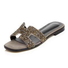 Femmes Vrai cuir Talon plat Sandales Chaussons chaussures