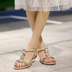 Femmes Similicuir Talon plat Sandales avec Cristal Perle d'imitation chaussures